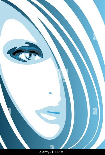 Modern fashion blue portrait - Stock-Bilder