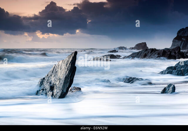 Rocky Coast at Ayrmer Cove in South Devon, South Hams, England, United Kingdom, Europe. - Stock Image