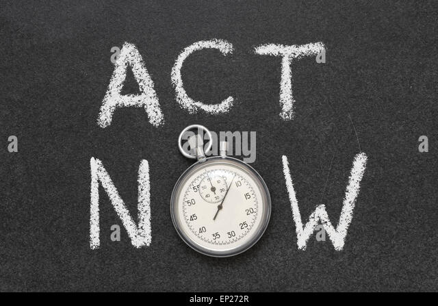 act now phrase handwritten on chalkboard with vintage precise stopwatch used instead of O - Stock Image