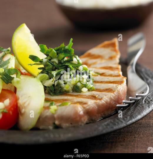 tuna steak with creole sauce - Stock Image