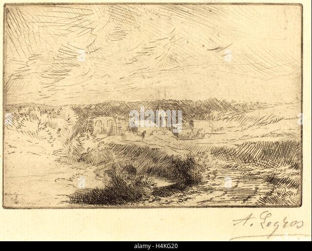 Alphonse Legros, Village of Wimille, near Boulogne  (Village de Wimille, pres Boulogne), French, 1837-1911, etching - Stock-Bilder