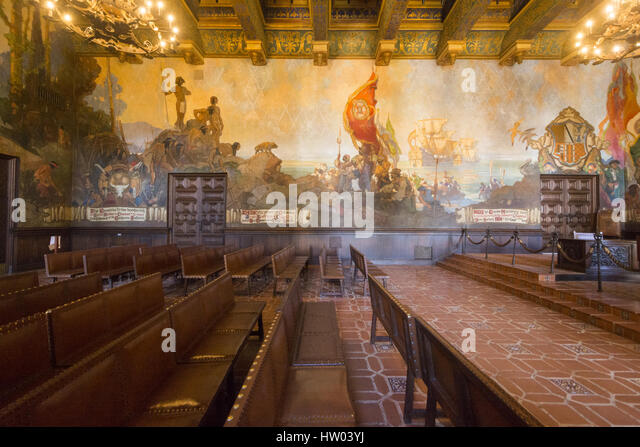 Mural room stock photos mural room stock images alamy for Mural room santa barbara courthouse