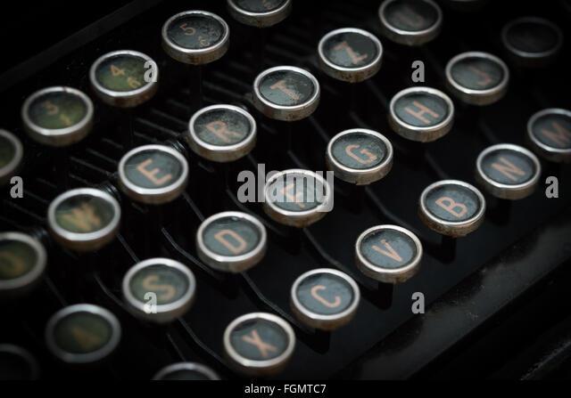 Closeup of the keys of an old typewriter - Stock Image