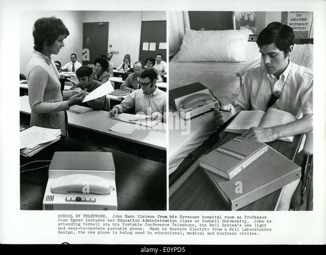 Feb. 02, 1971 - School By Telephone: John Mann listens from his Syracuse hospital room as Professor Joan Egner lectures - Stock Image