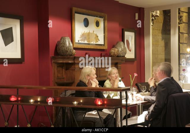 UK, England, Harrogate, Crown Hotel, restaurant, dining, table, - Stock Image