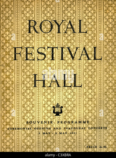 The Festival of Britain souvenir programme cover for Ceremonial Opening and Inaugural Concerts at The Royal Festival - Stock-Bilder