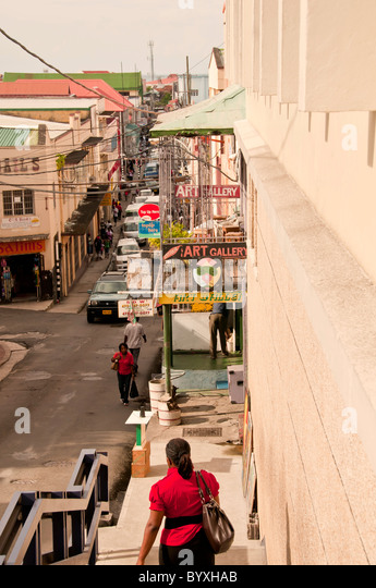 Grenada St Georges capital city looking down on crowded street - Stock Image