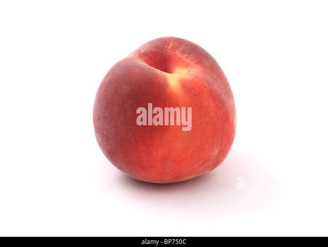 Fresh peach close-up isolated on a white background. Studio shot. - Stock Image