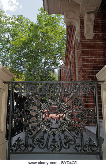 Pennsylvania Bethlehem National Register of Historic Places red brick building wrought iron railing craftsmanship - Stock Image