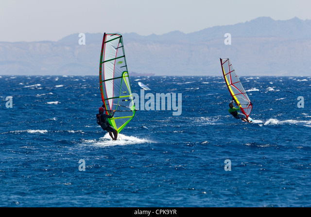 wind surfing in Dahab, Sinai, Egypt - Stock Image