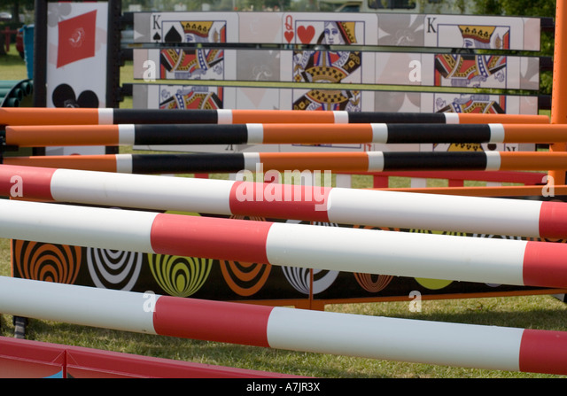 show jumping fences at hickstead west sussex - Stock Image
