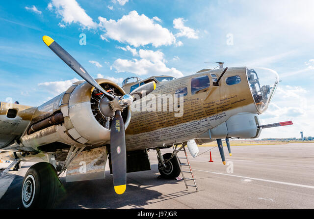 Restored WWII bomber, a B-17, on static display at the Montgomery, Alabama Airport, part of a a flying museum on - Stock Image