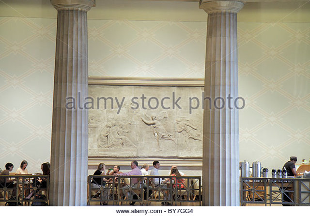 Pennsylvania Philadelphia Philadelphia Museum of Art institution Great Stair Hall columns Balcony Cafe man woman - Stock Image