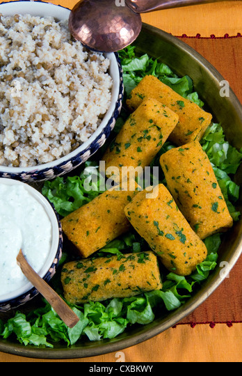 Mercimek koftesi, vegetarian balls with lentils, Turkish food, Turkey, Eurasia - Stock Image