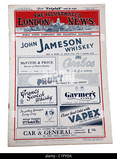The Illustrated London News for 18 January 1947 with advertising front page for whiskey biscuits salt and insurance - Stock Image
