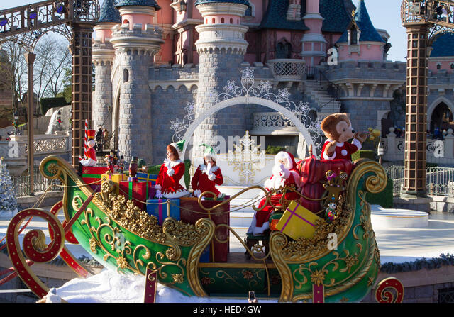 Christmas parade at Disneyland Paris Marne La Vallee France - Stock Image