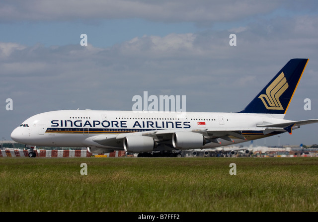 Singapore Airlines Airbus A380 London Heathrow, United Kingdom. - Stock Image