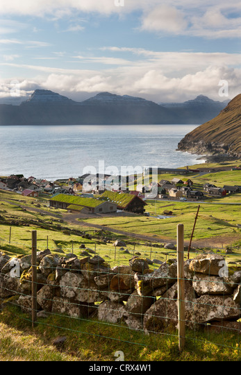 Picturesque village of Gjogv on Eysturoy in the Faroe Islands. Spring (June) 2012. - Stock-Bilder