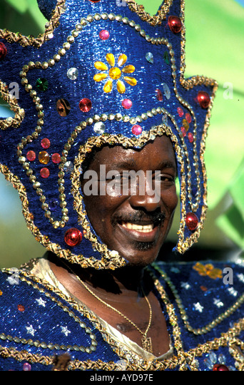 St Maarten Carnival Man in colorful costume - Stock Image