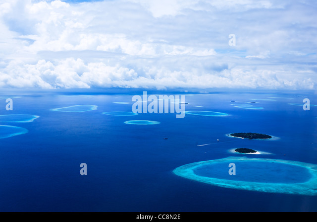 Islands In The Maldives seen from above - Stock Image