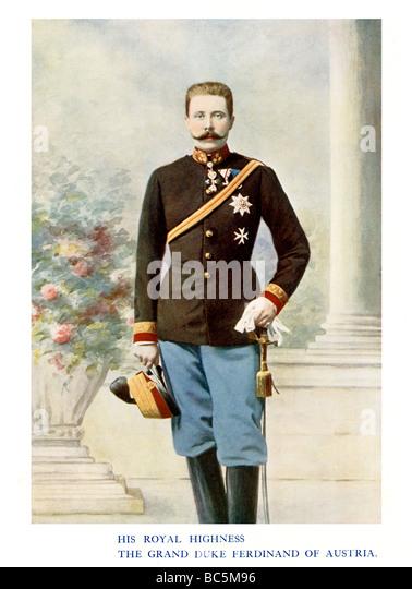 Archduke Franz Ferdinand 1901 colour portrait photograph of the nephew of Emperor Franz Joseph assassinated at Sarajevo - Stock-Bilder