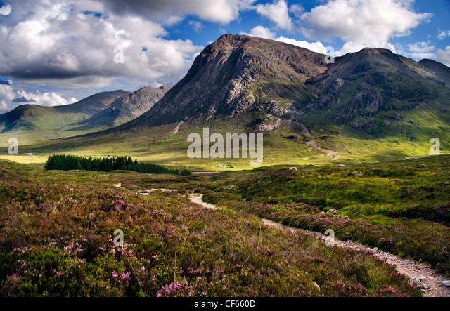 A view down the Devil's Staircase towards the Pass of Glen Coe in the Scottish Highlands. - Stock Image