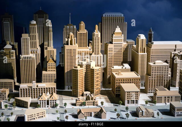 3d scale model of a city showing the CBD with modern skyscrapers and high-rise commercial architecture, infrastructure - Stock Image