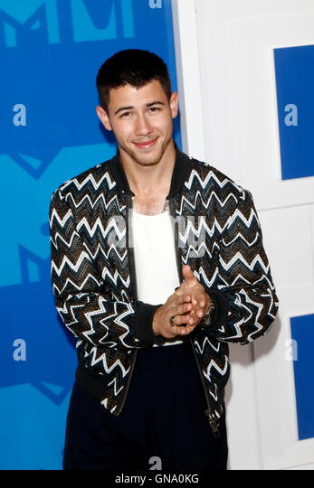 Nick Jonas attends the MTV Video Music Awards, VMAs, at Madison Square Garden in New York City, USA, on 28 August - Stock-Bilder