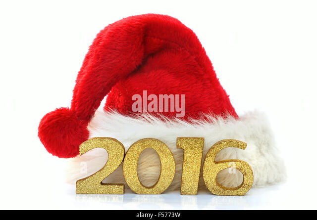 golden figures 2016 on a santa claus hat on white background - Stock-Bilder