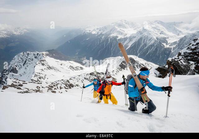 Alps deep snow skiing mountains cross-county - Stock Image