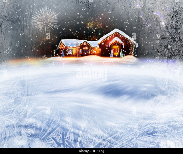 Winter Background Of Christmas Decorated House With Lights And Firework - Stock Image