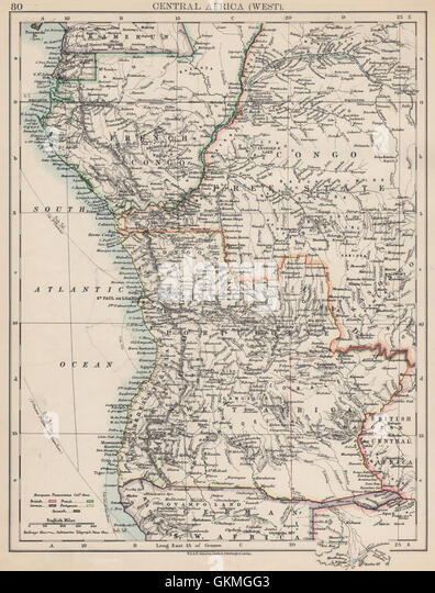 COLONIAL CENTRAL AFRICA. French Congo Free State Portuguese West Af. , 1903 map - Stock-Bilder