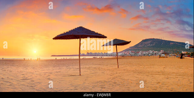 Agadir beach at sunset, Morocco, Africa - Stock Image