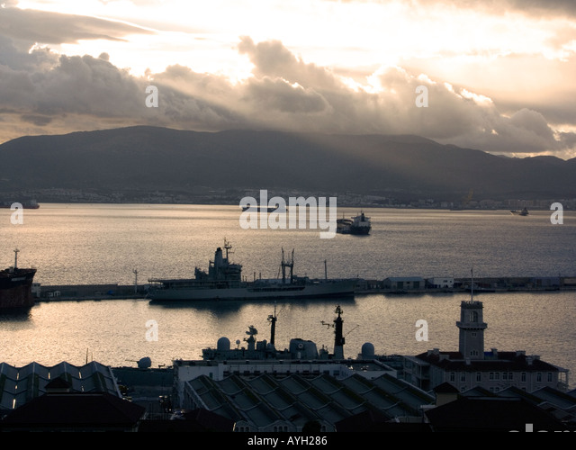 Dusk over Shipyard Bay of Gibraltar - Stock Image