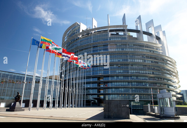 Flags in front of government building, European Parliament, Strasbourg, Alsace, France - Stock-Bilder