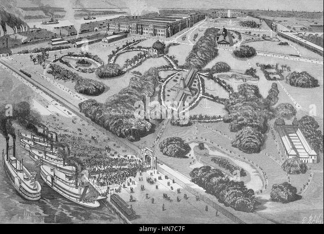 world exposition, Die Weltausstellung in New Orleans, USA, 1884, woodcut from 1885, digital improved - Stock Image