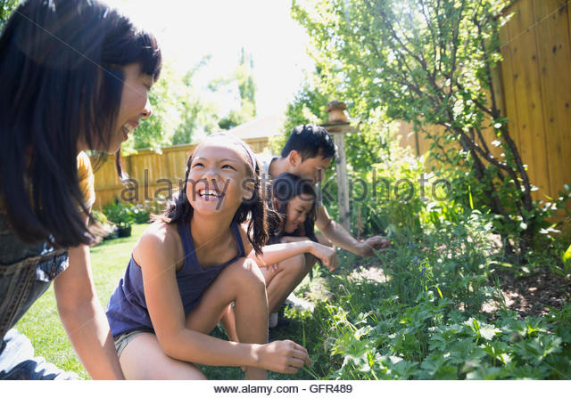 Smiling mother and daughter gardening - Stock Image