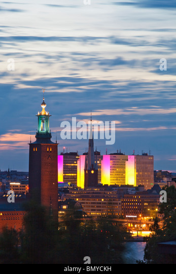 sweden stockholm - town hall and city highrises during long summer night - Stock Image