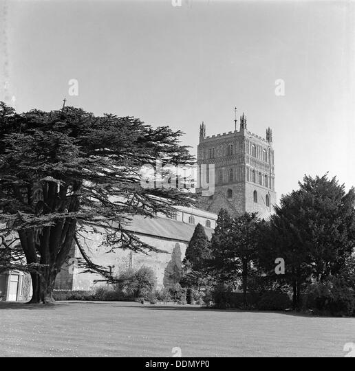 Tewkesbury Abbey, Gloucestershire, 1965. Artist: Laurence Goldman - Stock Image
