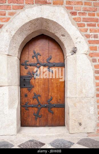 Old Door in  Collegiom Maius, Krakow, Lesser Poland, Poland, Europe - Stock-Bilder
