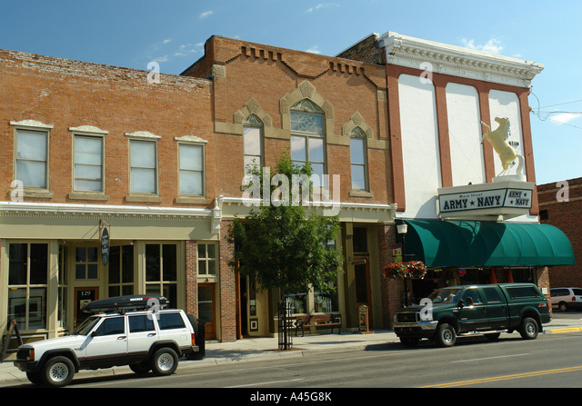 Western town storefronts stock photos western town for Flower delivery bozeman mt