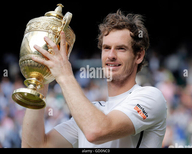 Andy Murray With Trophy Milos Raonic V Andy Murray Mens Final The Wimbledon Championships 2016 The All England Tennis - Stock Image