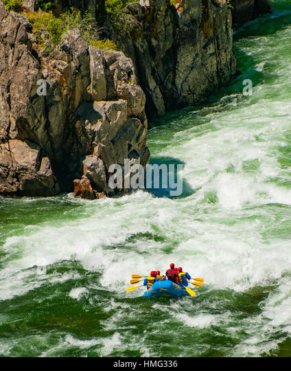 Whitewater Rafting through rapids of the South Fork of Payette Rver Canyon, Boise. Idaho, USA - Stock Image