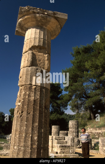 Greece Olympia first Olympic games in 776 B.C. Temple of Hera column 600 B.C. visitor - Stock Image