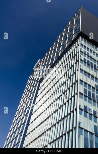 Modern architecture with skyscraper in Bucharest, Romania - Stock Image