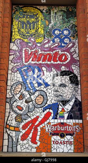 Afflecks Palace Manchester - Vimto,Co-op,Alan Turing,Rolls Royce,Warburtons,Kellogs,mosaic - Stock Image