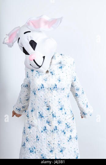 Bunny difficult to wake in the morning He stretched lazily dressing-up clothes and conceptual parody - Stock Image