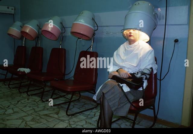 Belarus Eastern Europe Minsk beauty salon hair dryers customer - Stock Image