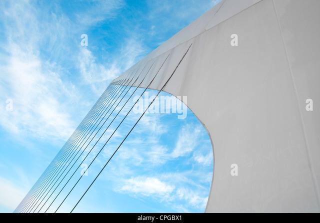 Cables system of Puente De La Mujer (Bridge Of The Women) designed by Santiago Calatrava Buenos Aires Argentina - Stock Image