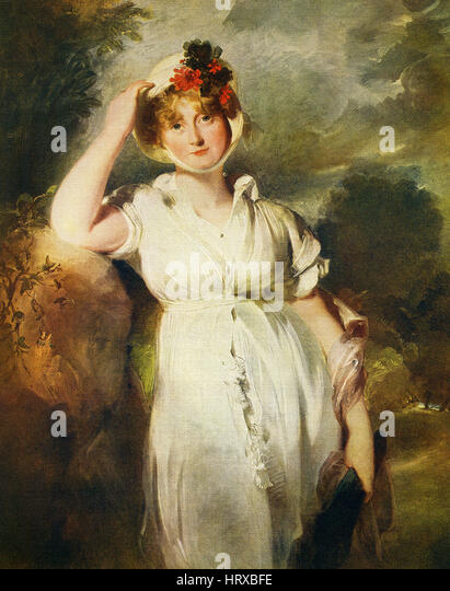 This painting, titled 'Caroline of Brunswick, Queen of George IV,' is by the English artist Sir Thomas Lawrence - Stock-Bilder